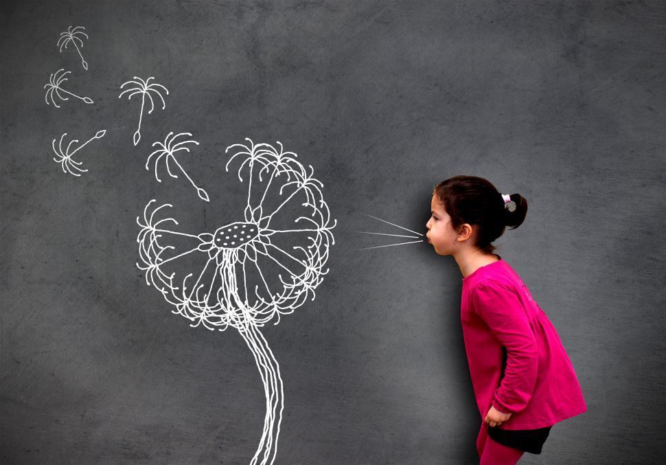 imageDesc for cat Little cute girl blowing dandelion seeds on chalkboard - Hope an page People
