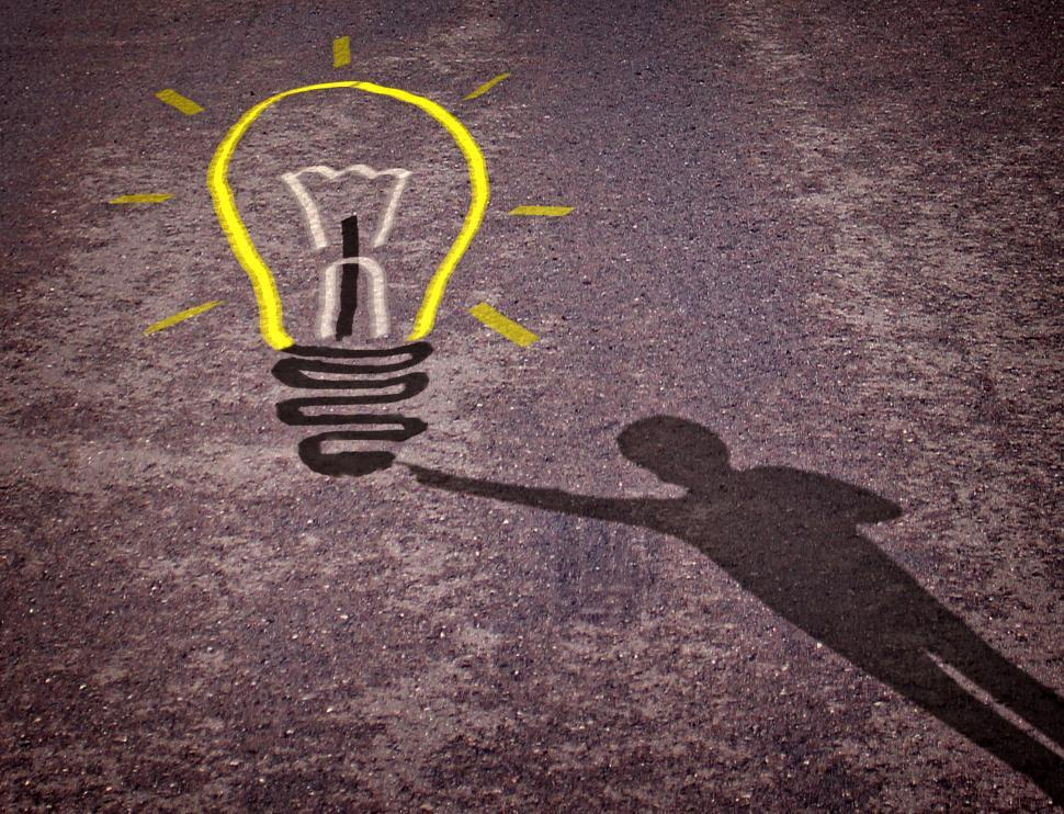 Download Free Stock HD Photo of Shadow of a boy touching a lightbulb drawing - Child creativity  Online