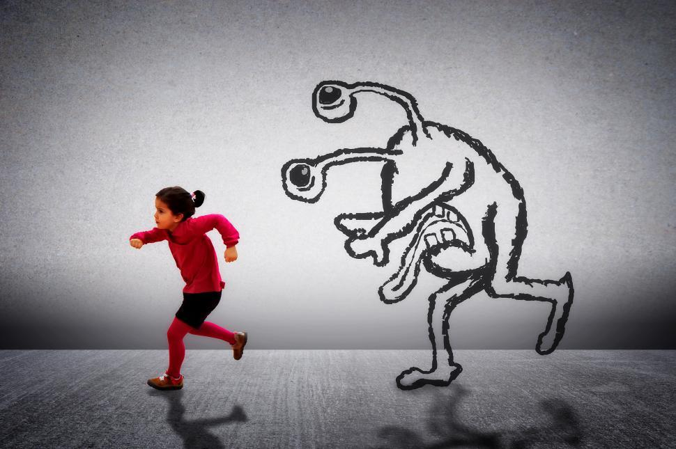 Download Free Stock HD Photo of Little cute child running away from a monster Online