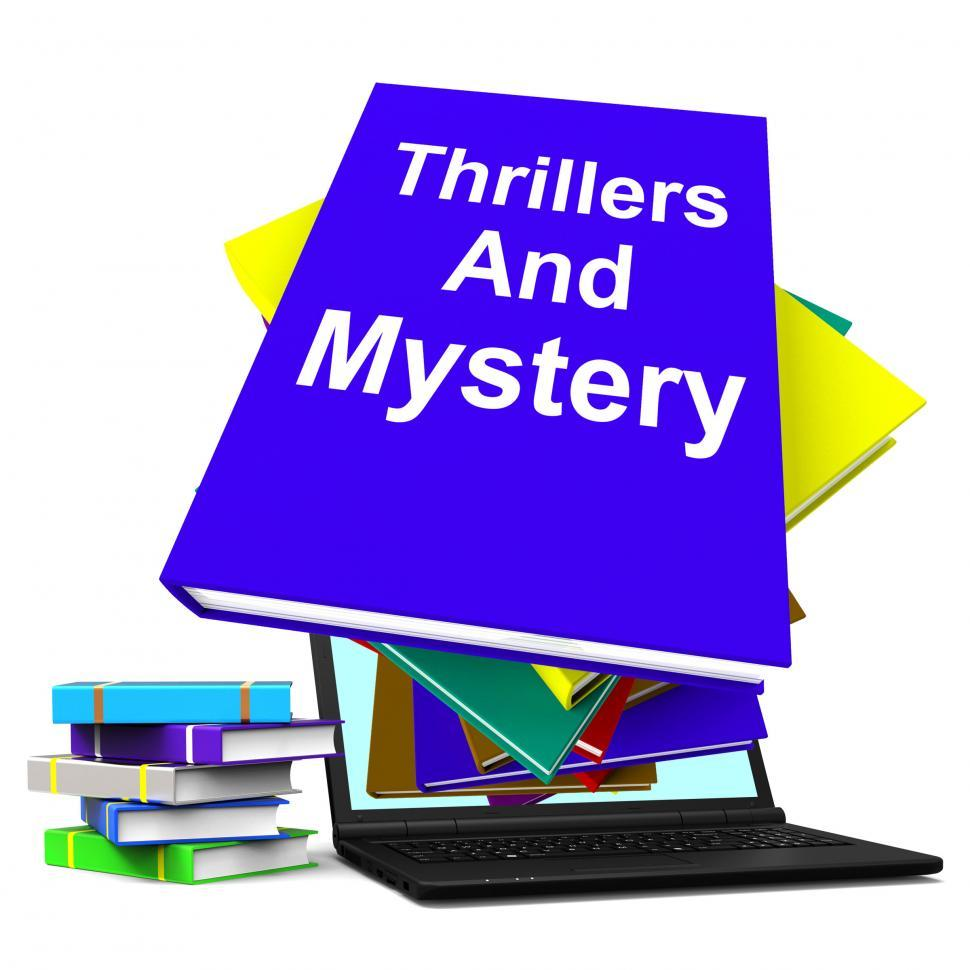 Download Free Stock HD Photo of Thrillers and Mystery Book Laptop Shows Genre Fiction Books Online