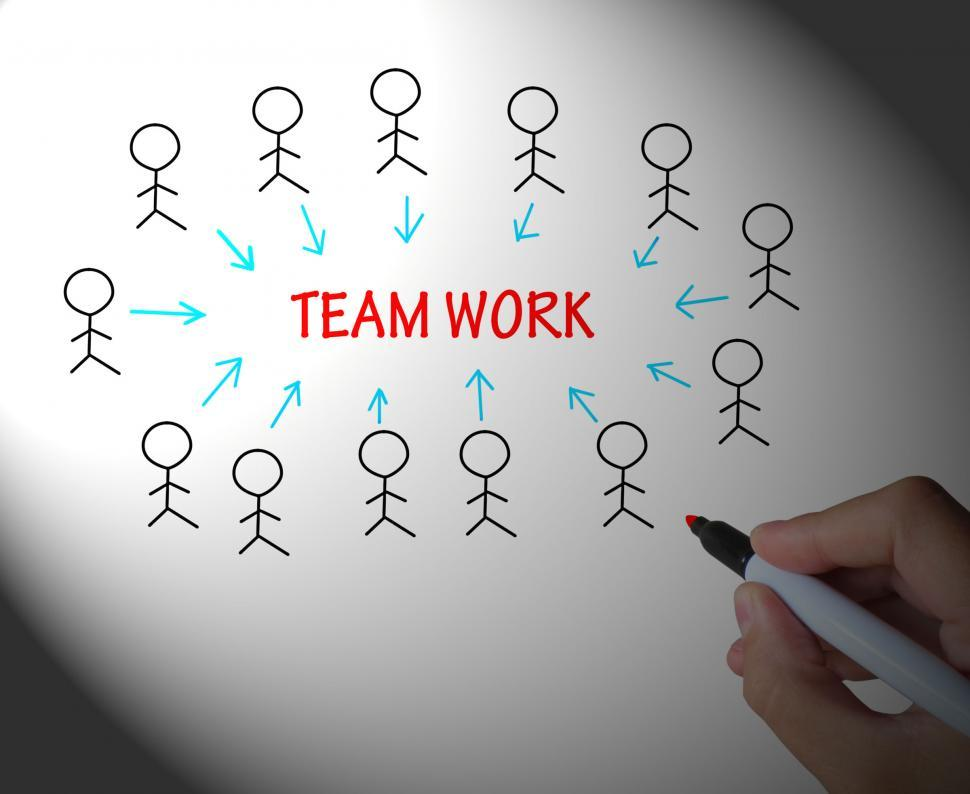 Download Free Stock HD Photo of Teamwork Stick Figures Shows Working As A Team Online