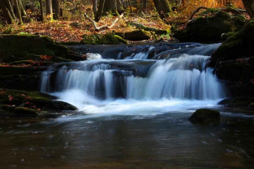 Download Free Stock HD Photo of Van Campens Glen Waterfall and stream Online