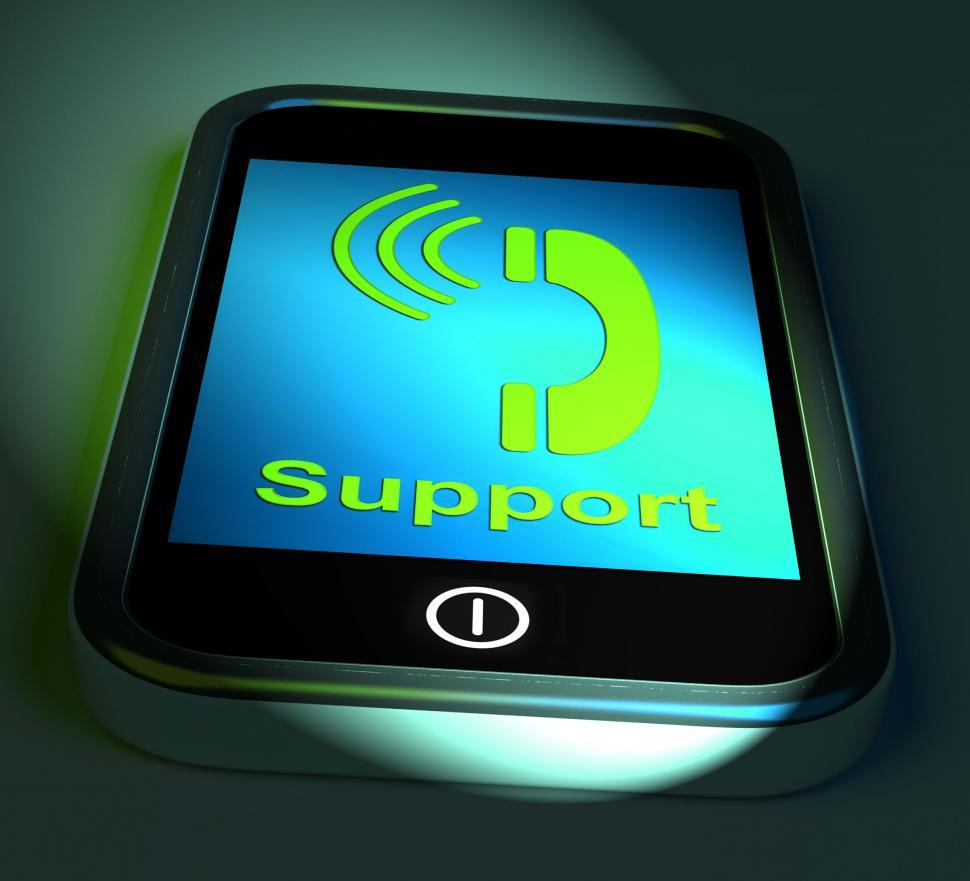 Download Free Stock HD Photo of Support On Phone Shows Call For Advice Online