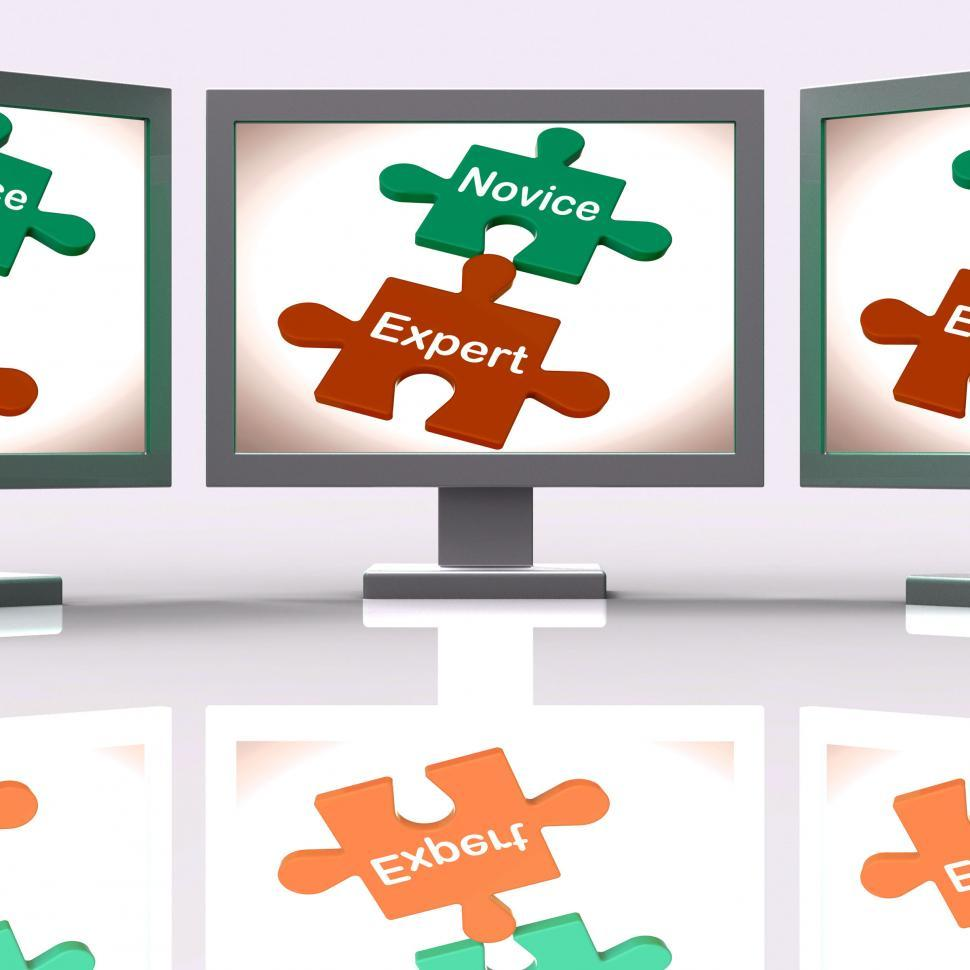 Download Free Stock HD Photo of Novice Expert Puzzle Screen Shows Unskilled And Professional Online