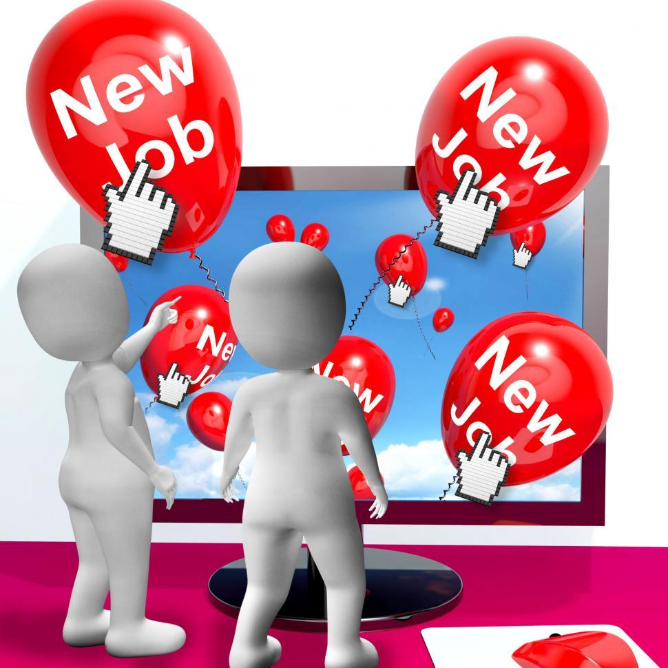 Download Free Stock HD Photo of New Job Balloons Show Internet Congratulations for New Jobs Online