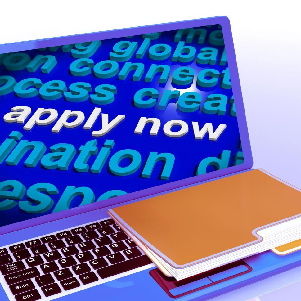 Download Free Stock HD Photo of Apply Now Word Cloud Laptop Shows Work Job Applications Online