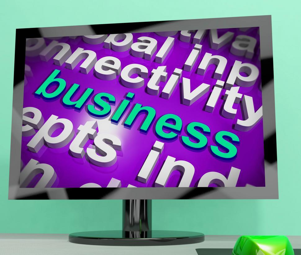 Download Free Stock HD Photo of Business Word Cloud Screen Shows Commercial Trade Or Deal Online