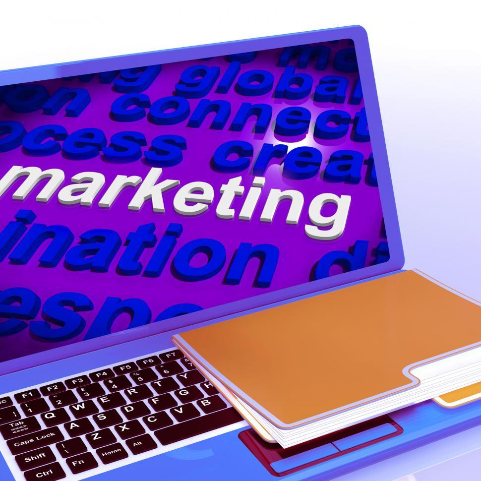 Download Free Stock HD Photo of Marketing In Word Cloud Laptop Means Market Advertise Sales Online