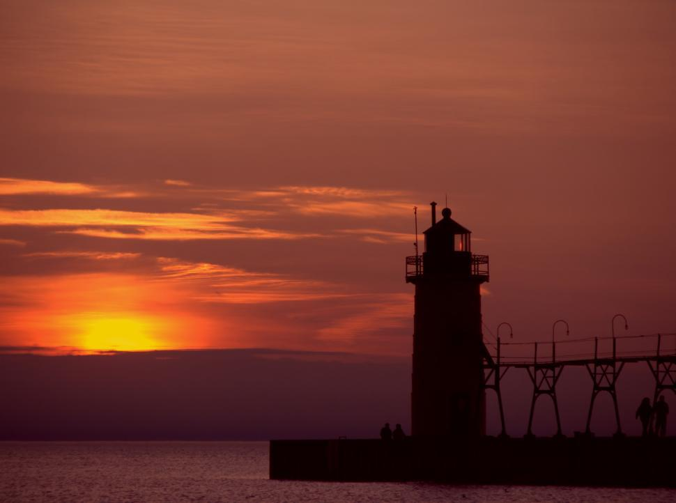 Download Free Stock HD Photo of Sunset Lighthouse Online
