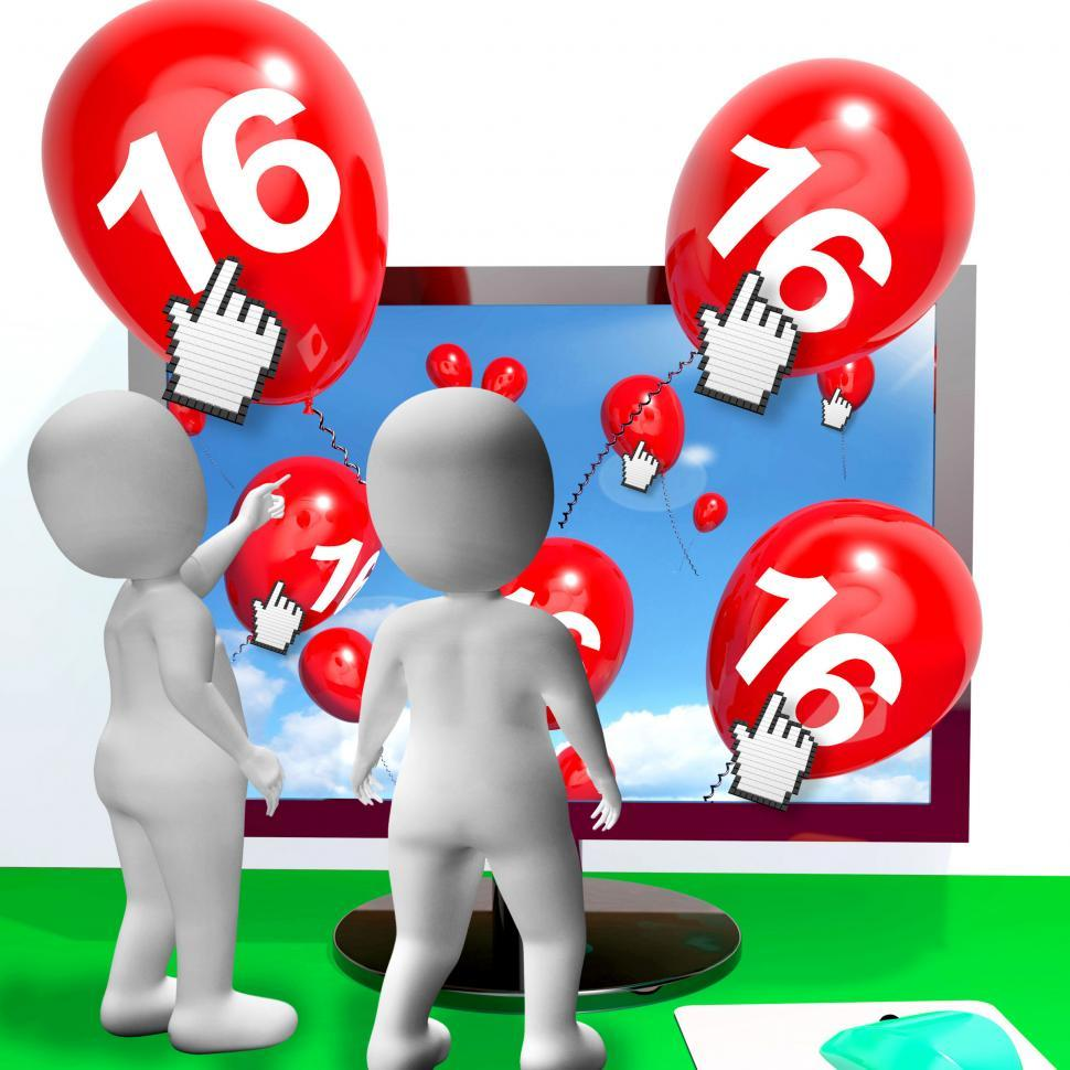 Download Free Stock HD Photo of Number 16 Balloons from Monitor Show Internet Invitation or Cele Online