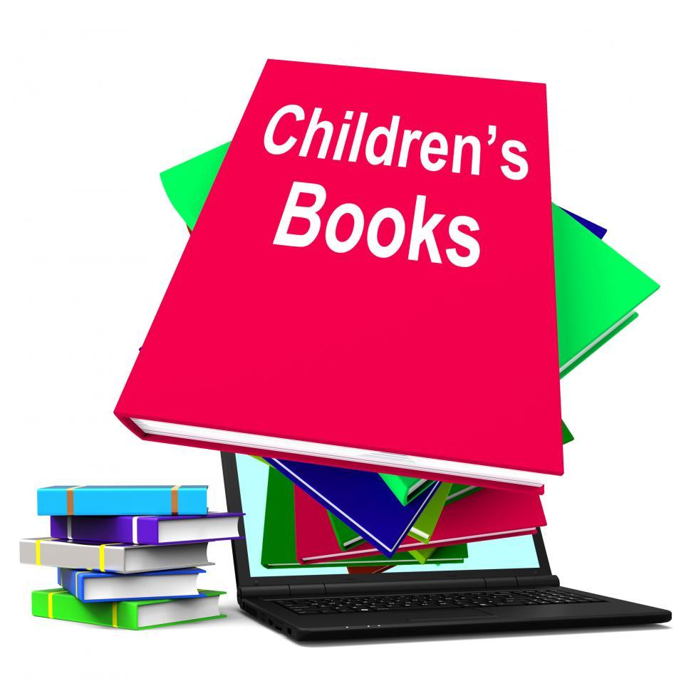 Download Free Stock HD Photo of Children s Books Book Stack Laptop Shows Reading For Kids Online