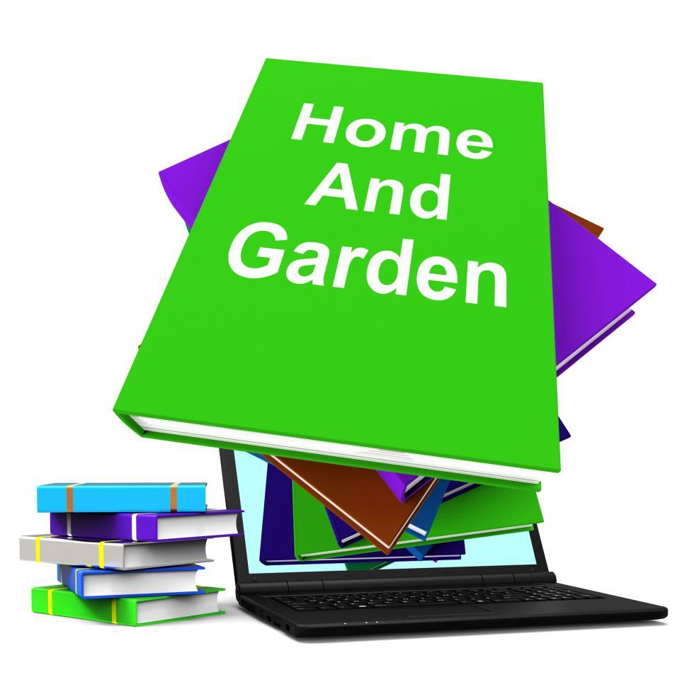 Download Free Stock HD Photo of Home And Garden Book Stack Laptop Shows Books On Household Garde Online