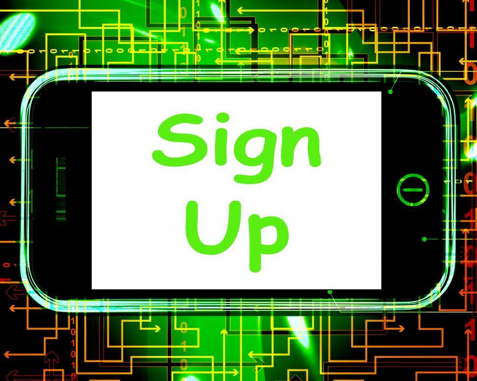 Download Free Stock HD Photo of Sign Up On Phone Shows Join Membership Register Online