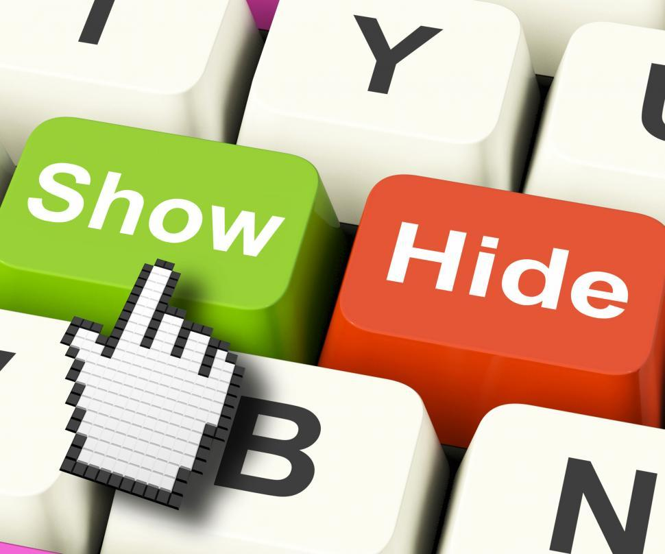 Download Free Stock HD Photo of Show Hide Computer Keys Mean On Display And Out Of Sight Online