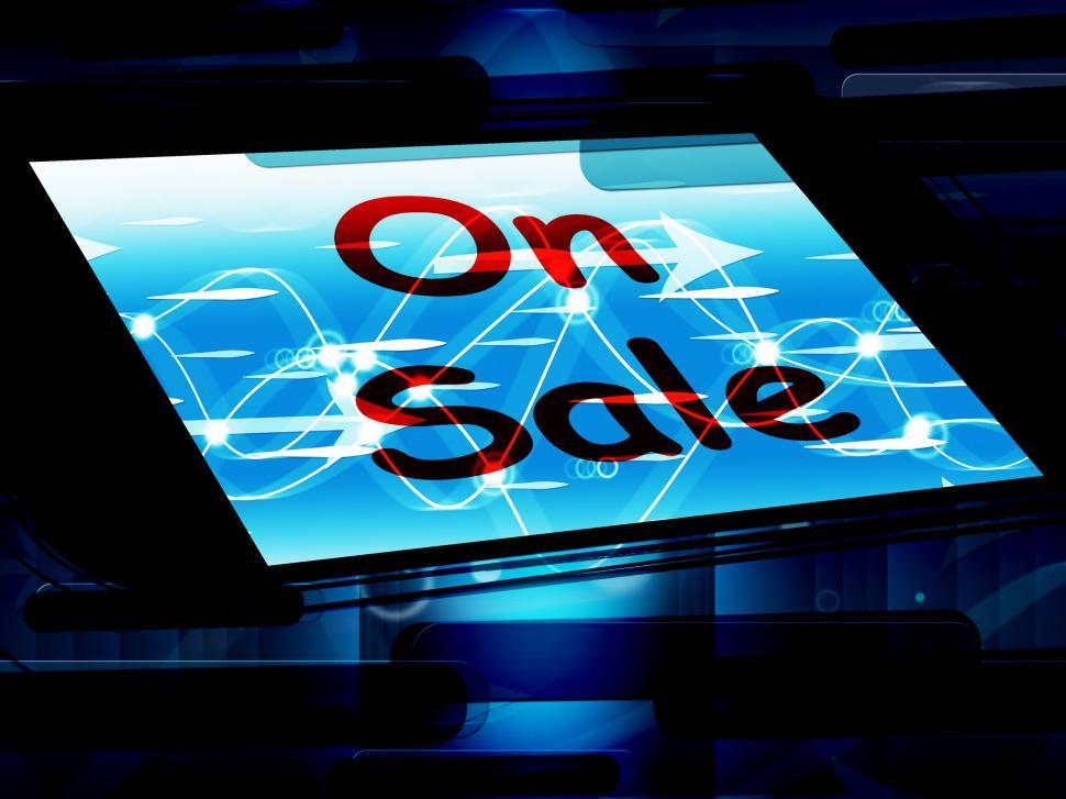 Download Free Stock HD Photo of On Sale Screen Shows Promotional Savings Or Discounts Online