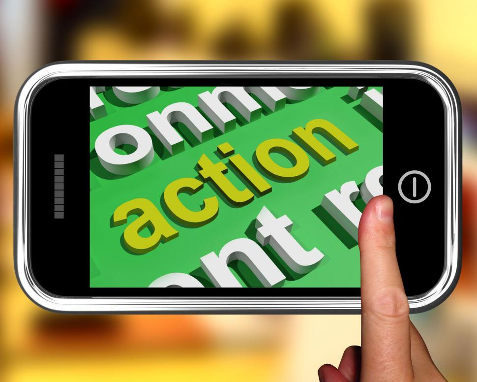 Download Free Stock HD Photo of Action In Word Cloud Shows Inspired Activity Online
