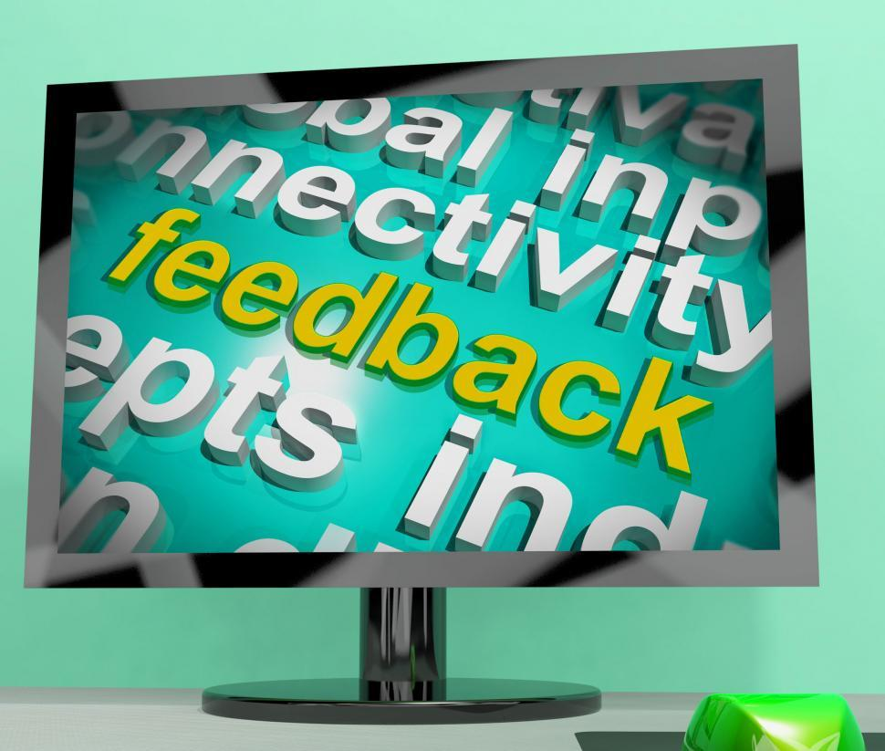 Download Free Stock HD Photo of Feedback Word Cloud Screen Shows Opinion Evaluation And Surveys Online