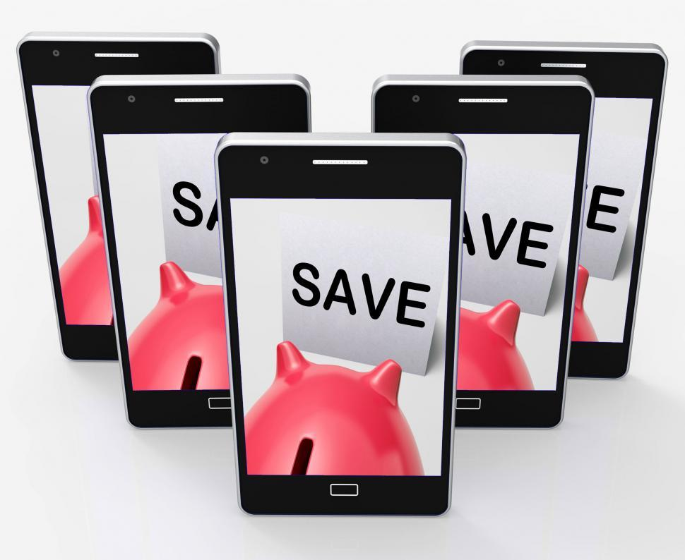 Download Free Stock HD Photo of Save Piggy Bank Phone Shows Product Discounts And Bargains Online