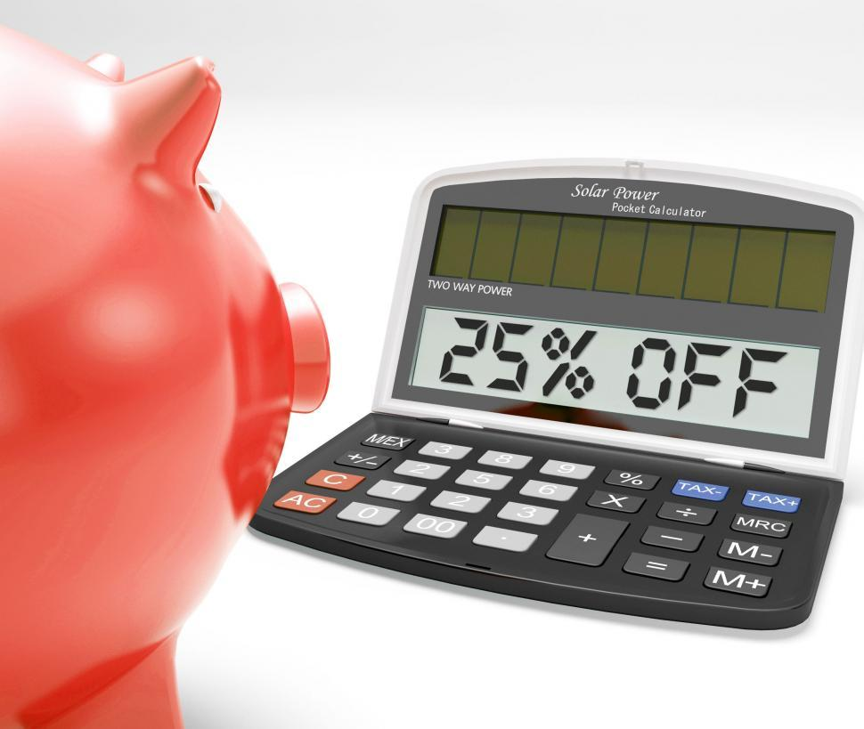 Download Free Stock HD Photo of Twenty-Five Percent Off Calculator Means Savings Online