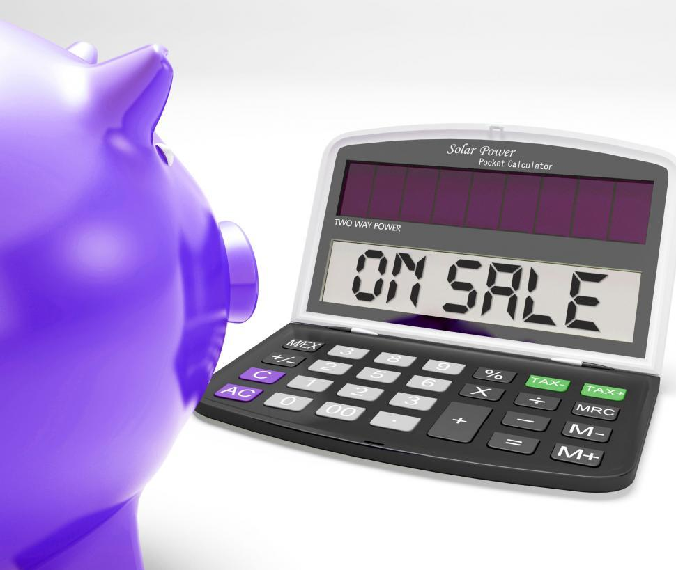 Download Free Stock HD Photo of On Sale Calculator Shows Price Cut And Saving Online