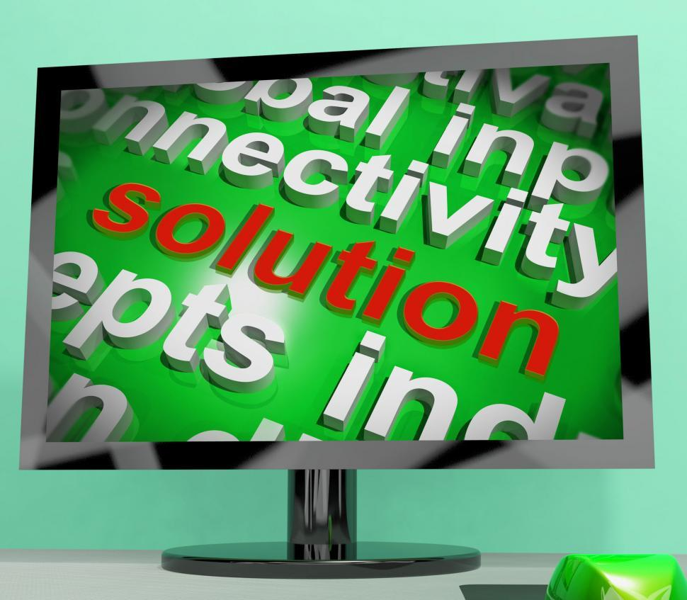 Download Free Stock HD Photo of Solution Word Screen Cloud Shows Achievement Resolution Solving  Online