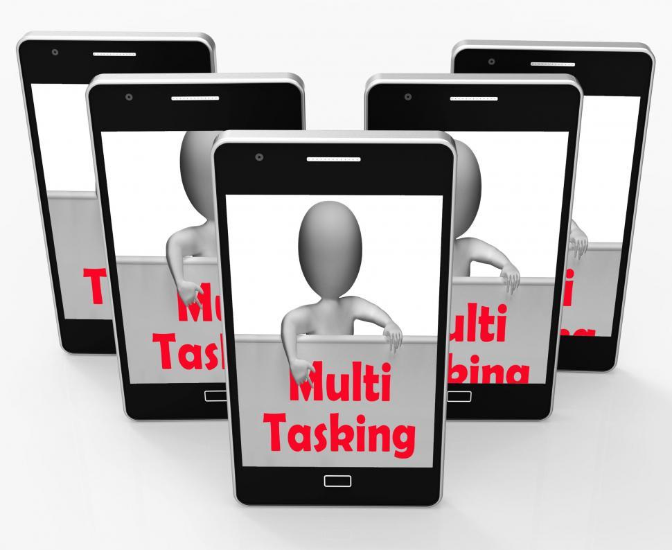 Download Free Stock HD Photo of Multitasking Phone Means Doing  Multiple Tasks Simultaneously Online