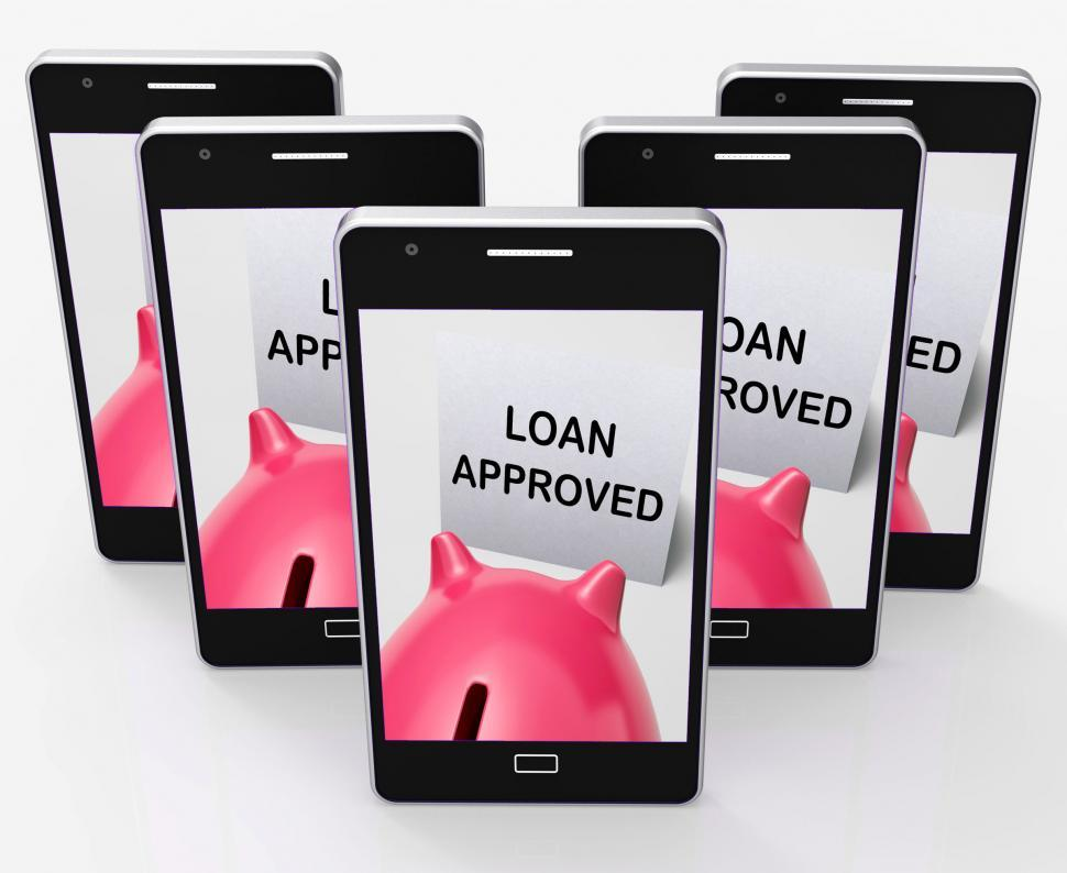 Download Free Stock HD Photo of Loan Approved Piggy Bank Means Borrowing Authorised Online