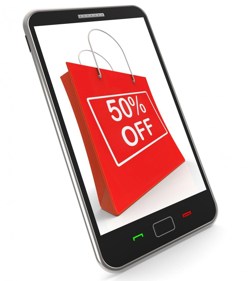 Download Free Stock HD Photo of Shopping Bag Shows Sale Discount Fifty Percent Off 50 Online