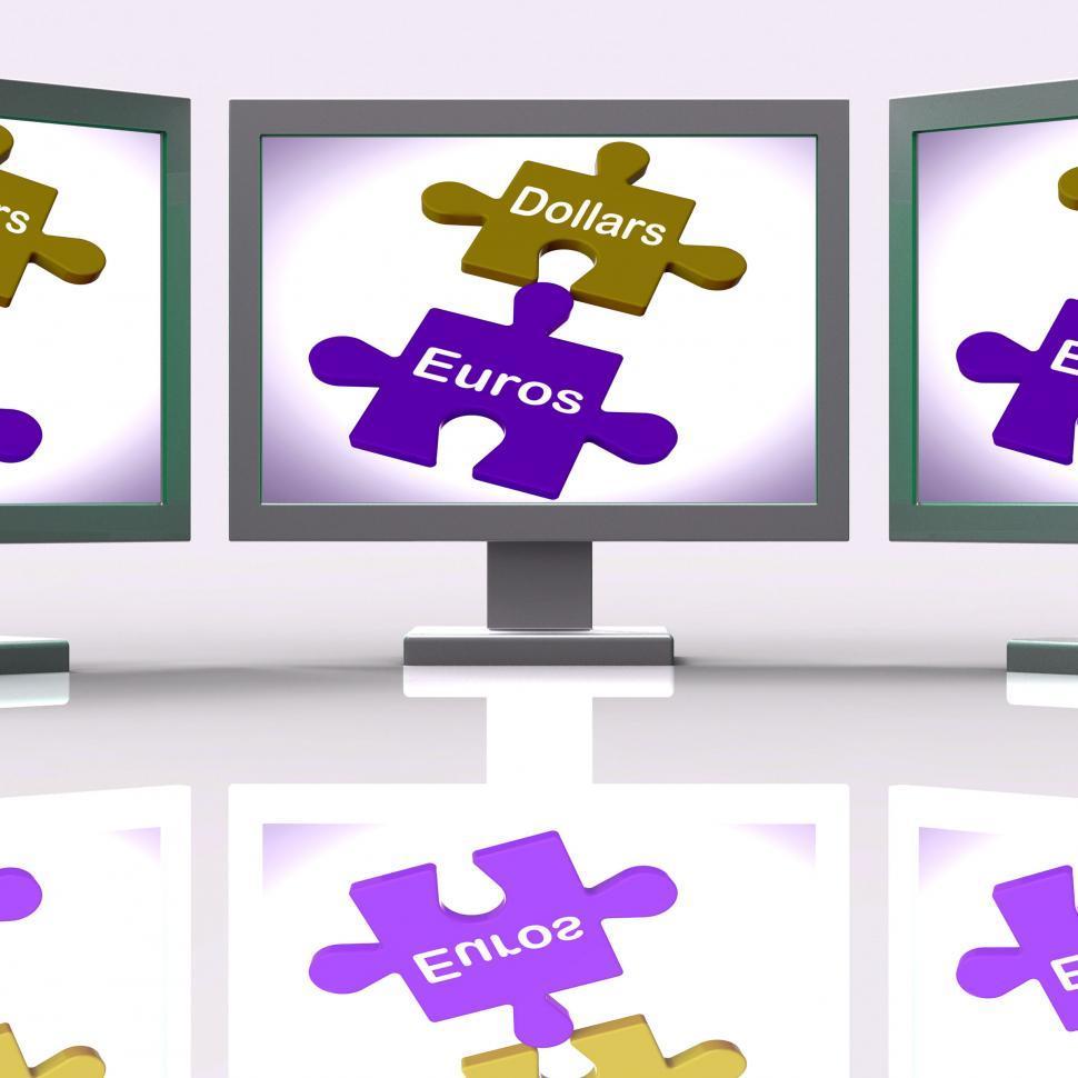 Dollars Euros Puzzle Screen Meaning International Money Exchange