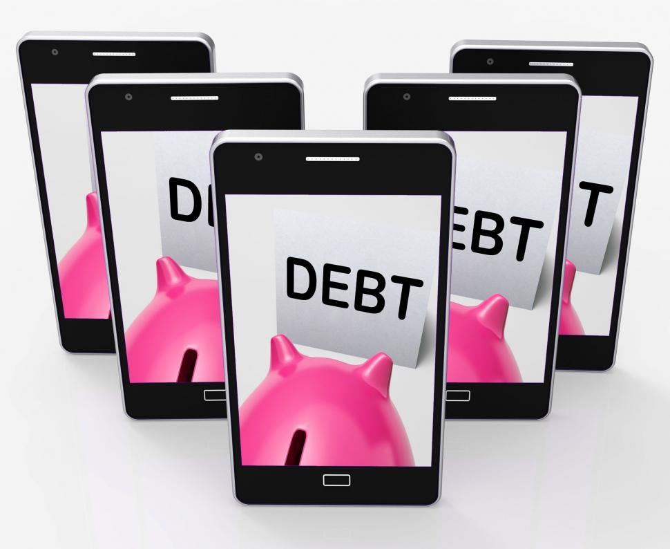 Download Free Stock HD Photo of Debt Piggy Bank Means Loan Arrears And Paying Off Online
