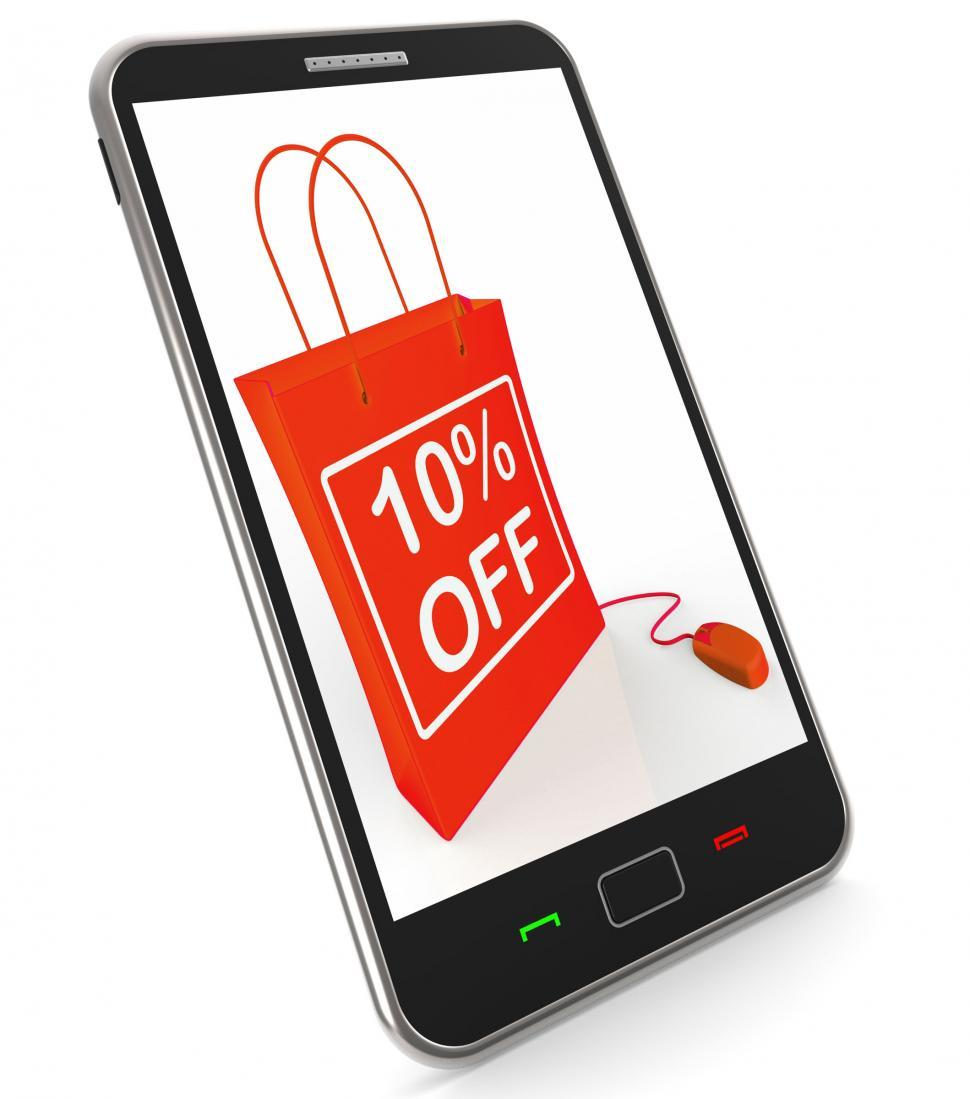 Download Free Stock HD Photo of Ten Percent Off Phone Shows Online Sales and Discounts Online