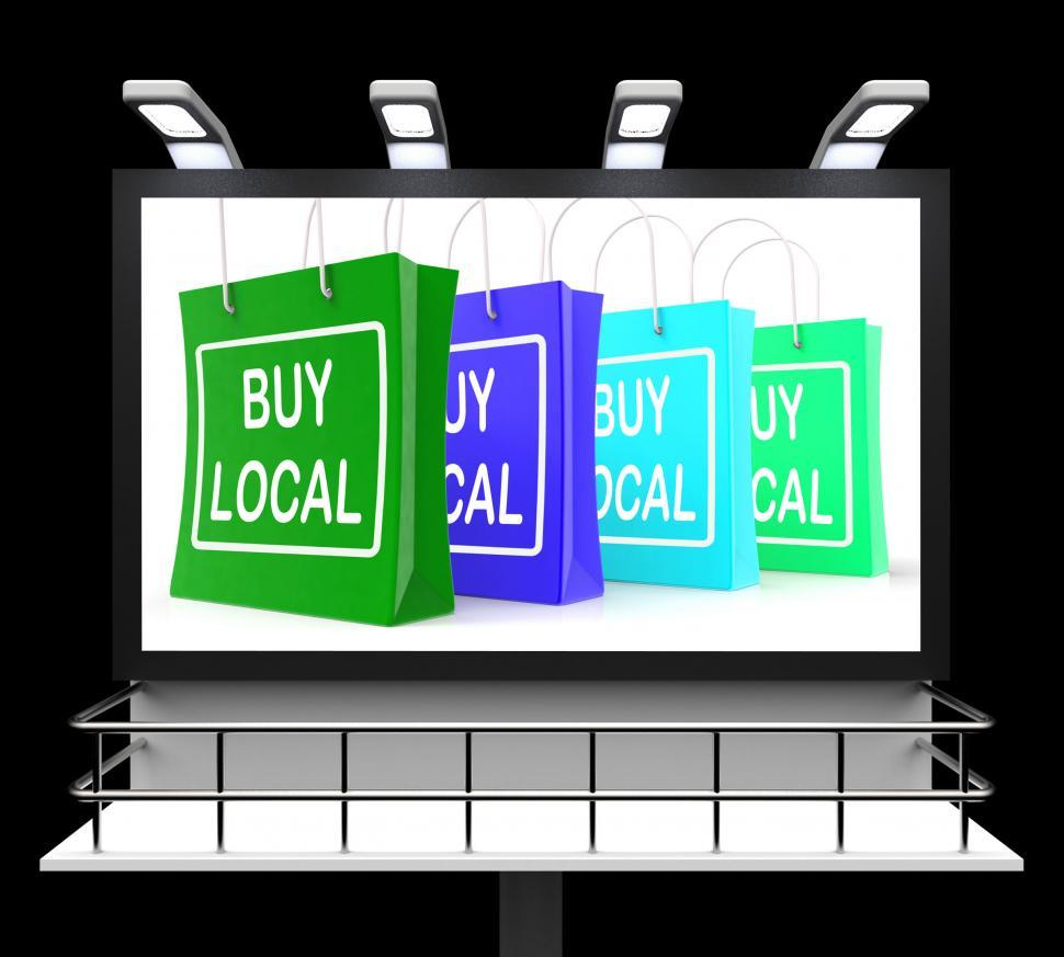 Download Free Stock HD Photo of Buy Local Shopping Sign Shows Buying Nearby Trade Online
