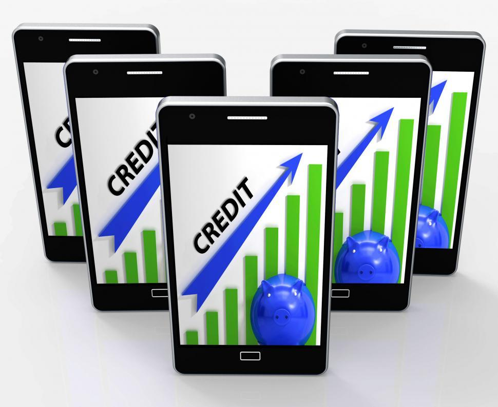 Download Free Stock HD Photo of Credit Graph Phone Means Financing Lending And Repayments Online