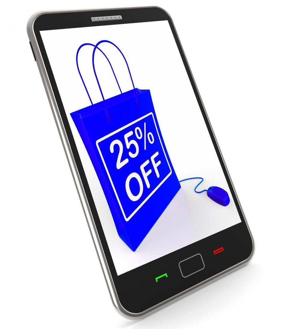 Download Free Stock HD Photo of Twenty-five Percent Off Phone Shows Reductions in Price Online