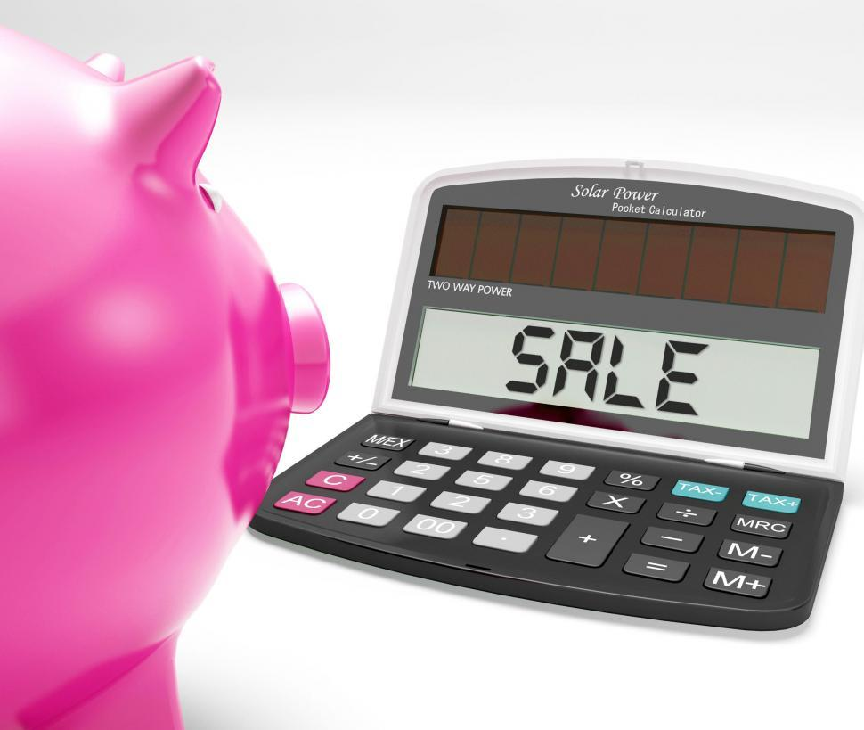 get free stock photos of sale calculator shows price reduction or