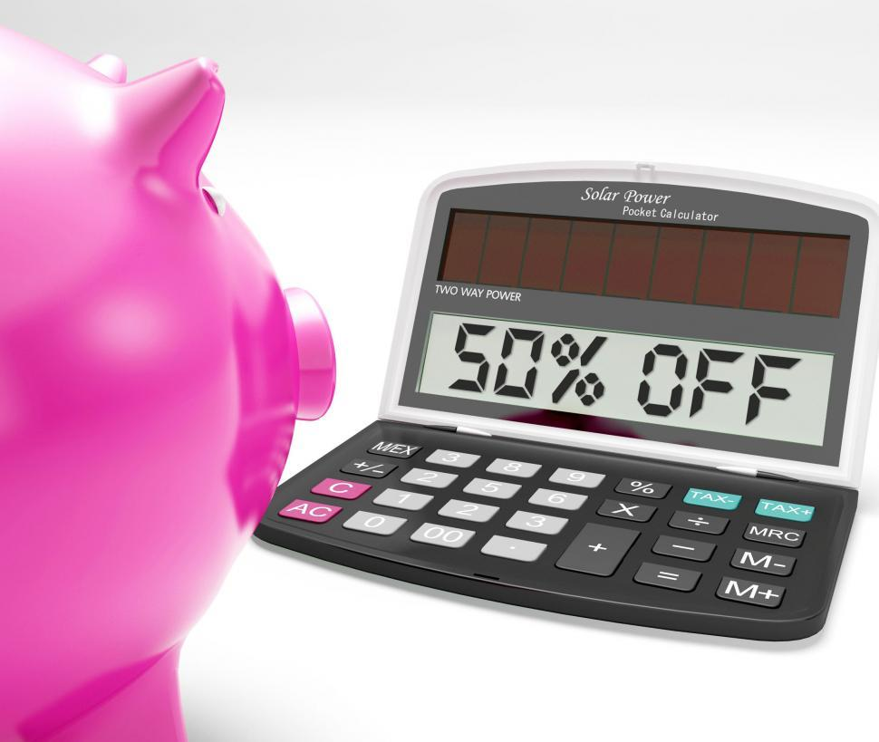 Download Free Stock HD Photo of Fifty Percent Off Calculator Means Half-Price Promotions Online