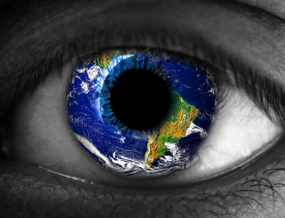 Download Free Stock HD Photo of Human eye with planet Earth reflected Online