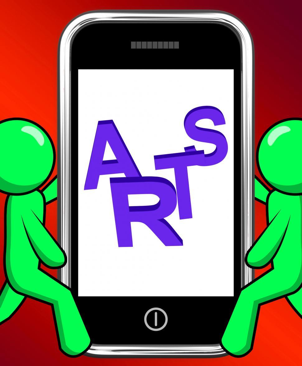 Arts On Phone Displays Creative Design Or Artwork