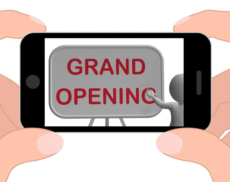 Download Free Stock HD Photo of Grand Opening Phone Shows New Store Open Celebration Online