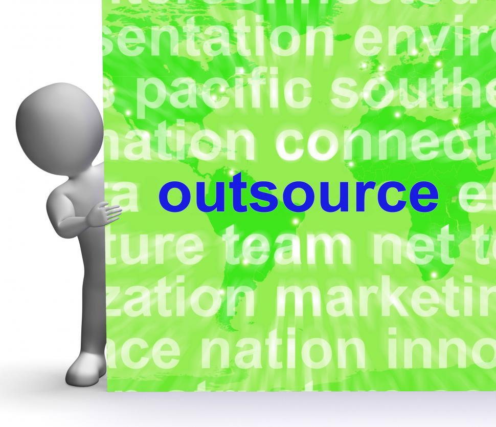 Get Free Stock Photos of Outsource Word Cloud Sign Shows Subcontract