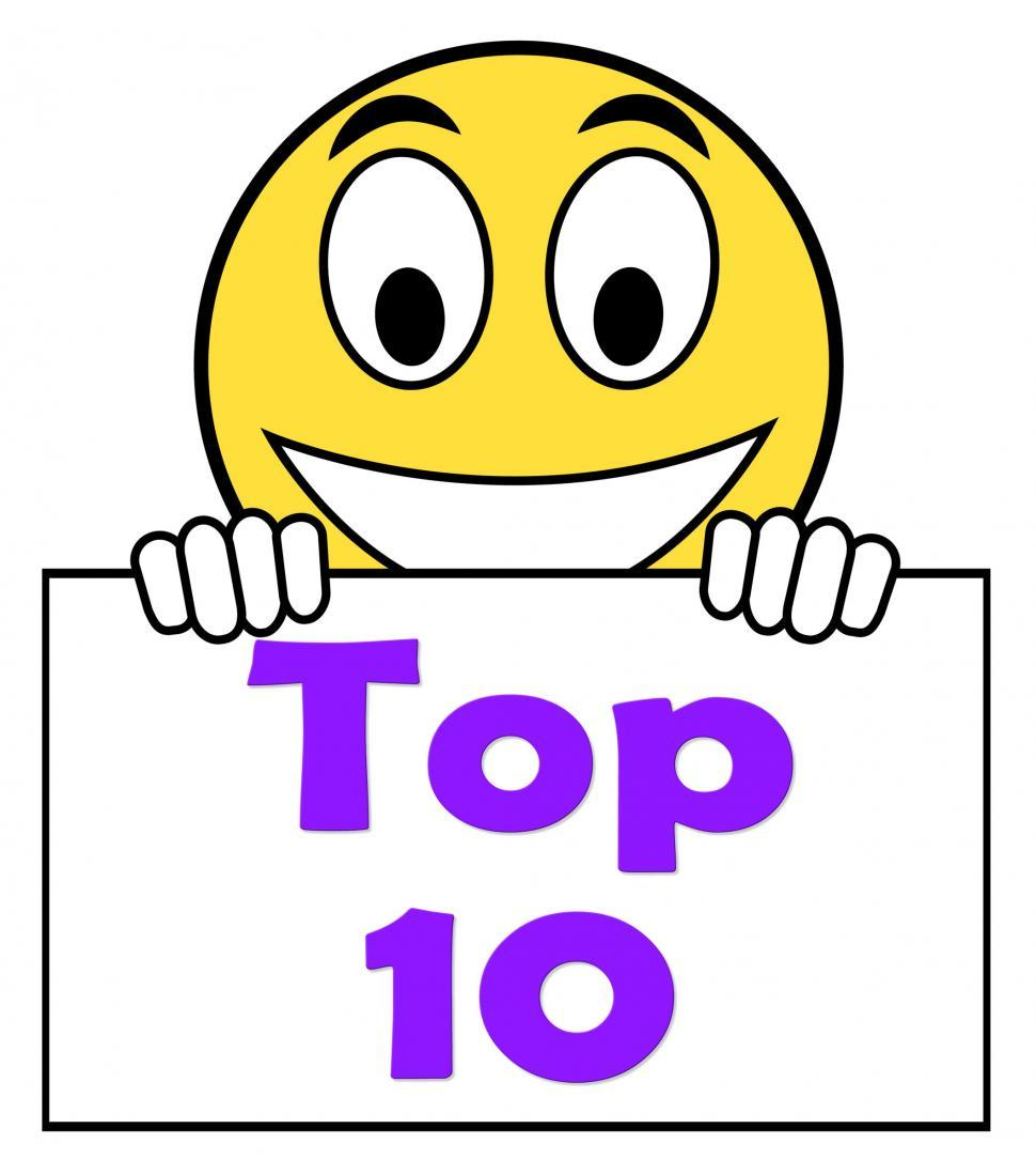 Download Free Stock HD Photo of Top Ten On Sign Shows Best Ranking Or Rating Online