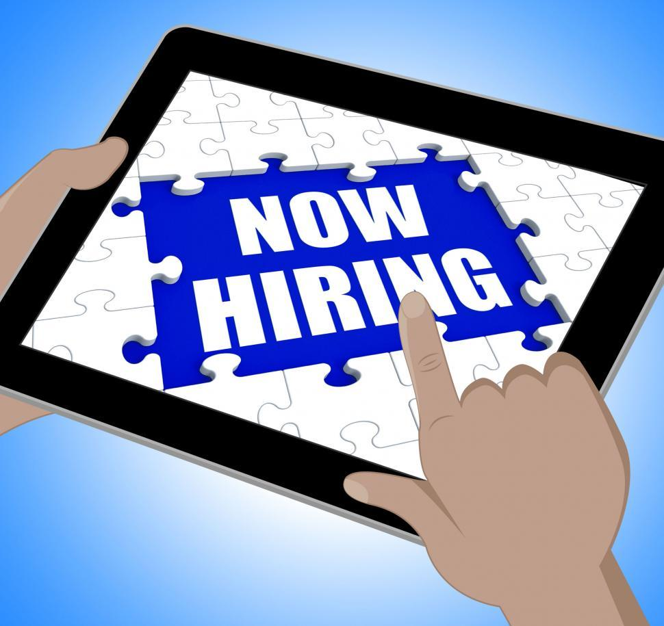 Download Free Stock HD Photo of Now Hiring Tablet Means Job Vacancy And Recruitment Online