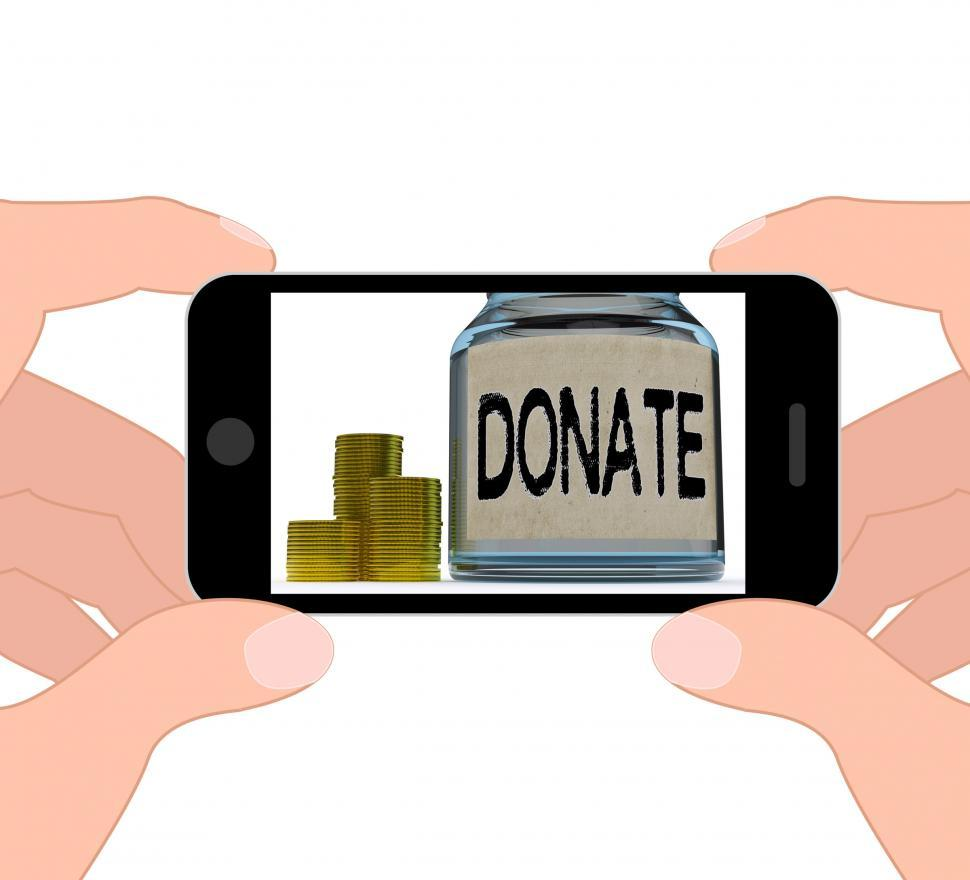 Download Free Stock HD Photo of Donate Jar Displays Fundraising Charity And Contributions Online