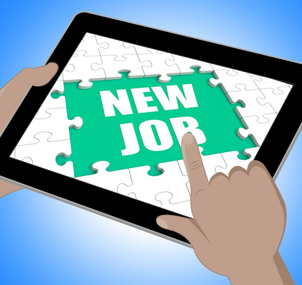 stock photo of new job tablet shows changing jobs or image of new job tablet showing changing jobs or employment