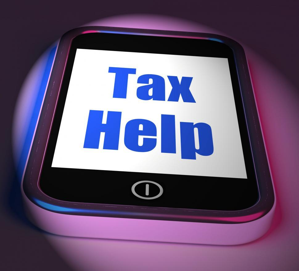 Download Free Stock HD Photo of Tax Help On Phone Displays Taxation Advice Online Online