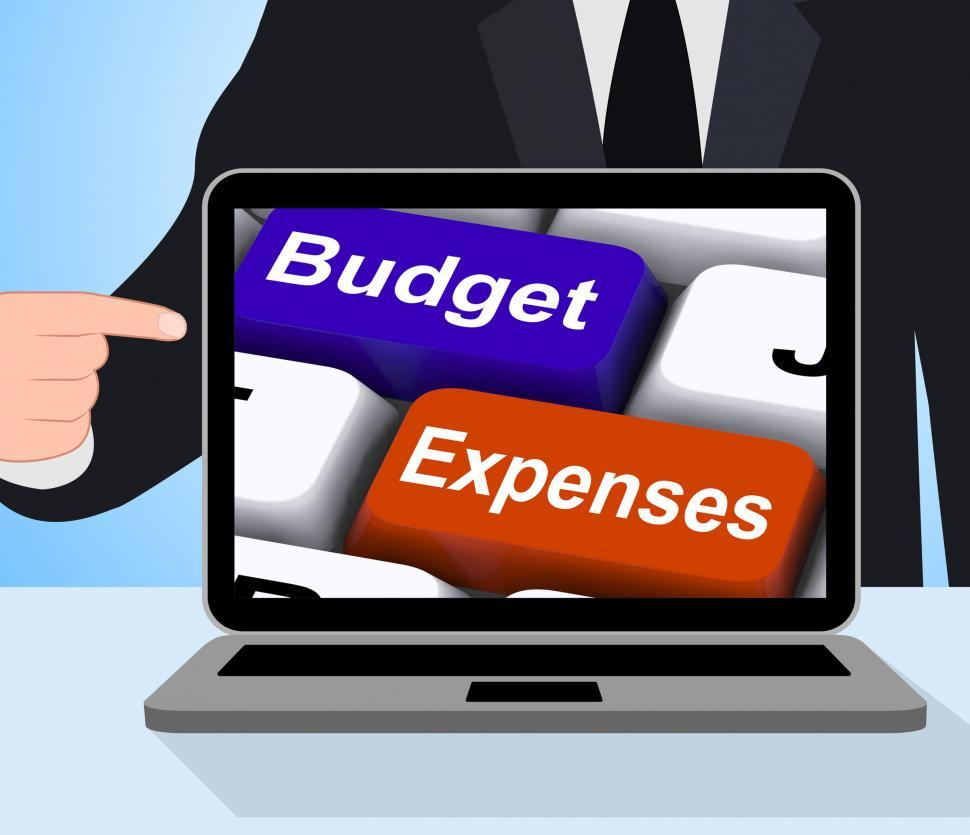 Download Free Stock HD Photo of Budget Expenses Keys Displays Company Accounts And Budgeting Online