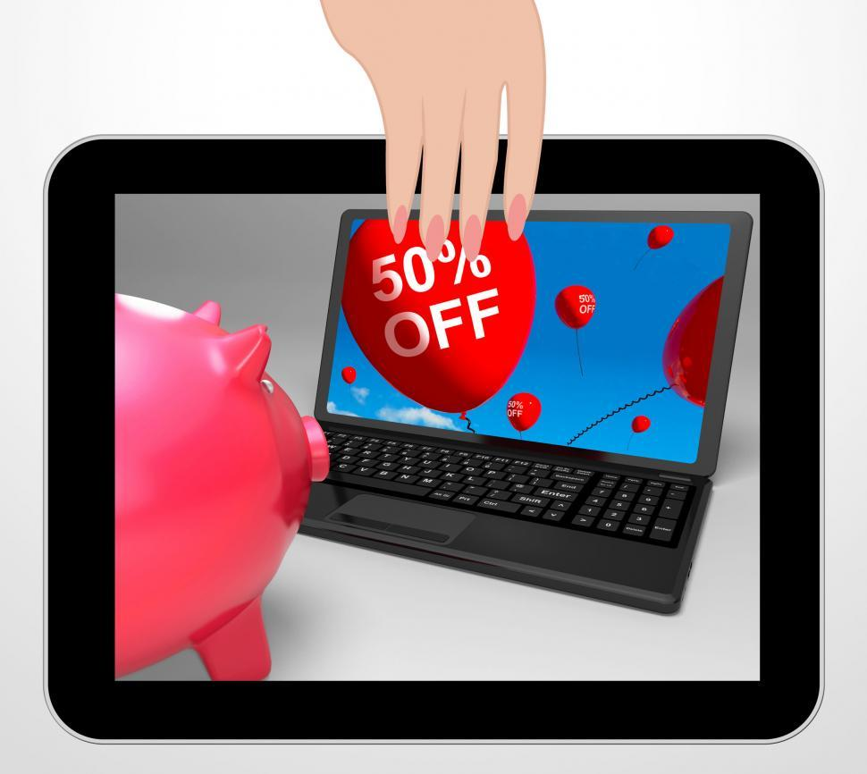 Download Free Stock HD Photo of Fifty Percent Off Laptop Displays 50 Half-Price Savings Online