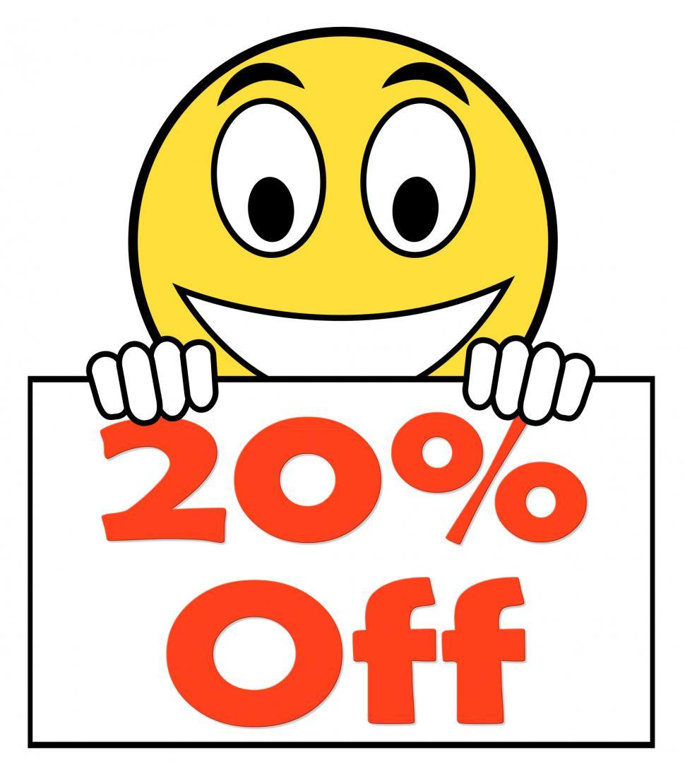 Download Free Stock HD Photo of Twenty Percent Sign Shows Sale Discount Or 20 Off Online