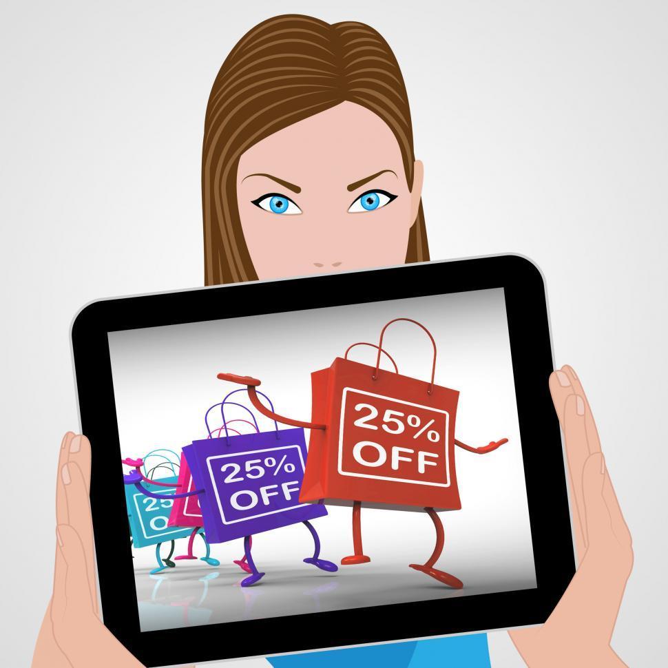 Download Free Stock HD Photo of Twenty-five Percent Off Bags Displays 25 Sales Online