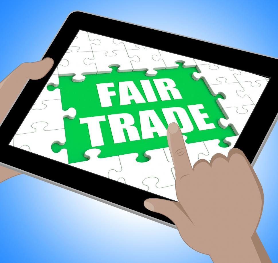 Download Free Stock HD Photo of Fair Trade Tablet Means Shop Or Buy Fairtrade Online